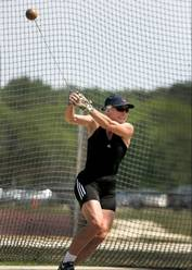 Ruth Welding, 56, of Elk Grove Village, won the hammer throw Thursday at the USA Masters Track and Field Championships that continue Friday at the Village of Lisle-Benedictine University Sports Complex in Lisle.